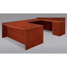 Fairplex Bow Front U Executive Desk with Corner Credenza