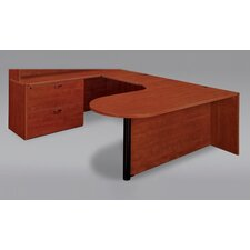 Fairplex U-Shape Executive Desk with Corner Peninsula / Bullet Lateral File and Grommet Holes