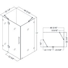 QuatraLux 46-5/16 in. W x 34-5/16 in. D x 72 in. H Hinged Shower Enclosure with Hardware