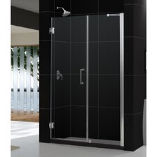 "UniDoor 72"" x 60"" Pivot Frameless Hinged Shower Door with 30"" Side Panel"