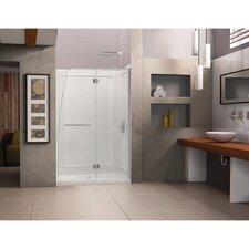 "Aqua 74.75"" x 60"" Pivot Frameless Hinged Shower Door with SlimLine 36"" and 60"" Single Threshold Shower Base Center Drain"