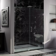 "UniDoor Lux 72"" x 58"" Frameless Hinged Shower Door"