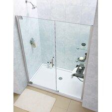 """Elegance 74.75"""" x 60"""" Pivot Frameless Shower Door with SlimLine 32"""" and 60"""" Single Threshold Shower Base Center Drain"""