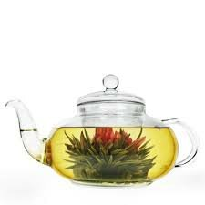 Teapot with Glass Lid Infuser and 24 Tea Flower