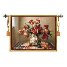 Floral Tulips in Oriental Vase Tapestry