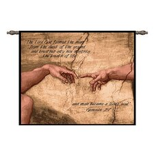 Creation of Adam with Words Tapestry