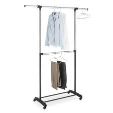 Adjustable Two Rod Garment Rack in Chrome / Black