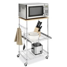 Supreme Microwave Cart with Wood Top