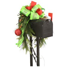 Mailbox Saddle Pine and Fir Boughs Sequined Ornaments and Ribbon