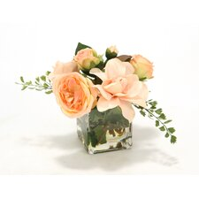 Peach Rose and Gardenia in Square Vase
