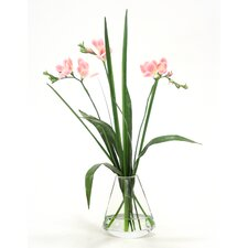 Waterlook Freesia with Grass in Rocker Vase