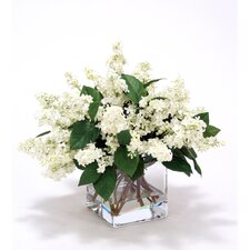 Waterlook Silk Lilacs in Square Glass Vase