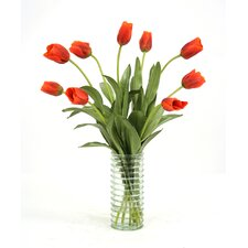 Waterlook Silk Tulips in Ribbed Vase