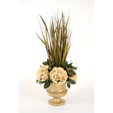 Dried Grasses Wreathed with Silk Hydrangeas in Classic Urn