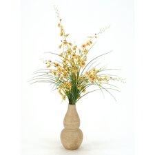 Silk Oncidium Orchids and Grass in Rio Vase