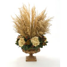 Natural Congo Grass and Beige Hydrangeas with Green Salal in Compote Urn