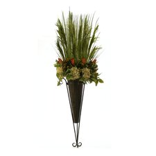 Dried Stacked Grass, Foliage, Hydrangeas and Pods in Etruscan Wall Sconce