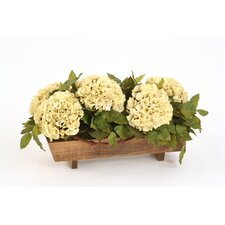 Silk Hydrangeas in Stained Wood Planter