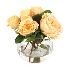 Waterlook Silk Roses & Buds in Rose Bowl