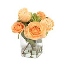 Waterlook Silk Roses and Hydrangeas in Glass Vase