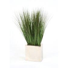 Silk Grass in Rectangular Metal Decorative Vase