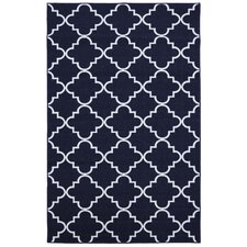 Loop Print Base Fancy Trellis Navy Printed Area Rug