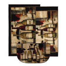 New Wave Wine and Glasses Area Rug (Set of 3)
