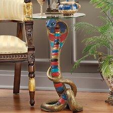 Renenutet Egyptian Cobra Goddess Glass Topped End Table