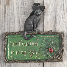 Witch's Cat Spell-Casting Wall Plaque