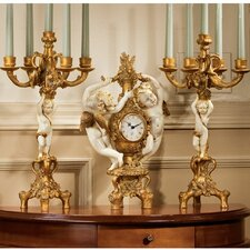 The Cherub's 3-Piece Harvest Clock and Candelabra Set in Ivory and Antiqued Faux Gold