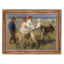 Donkey Rides on the Beach, 1901 Framed Original Painting