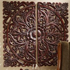2 Piece Carved Rosette Architectural Wall Décor Set