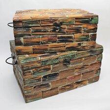 2 Piece Patchwork Wooden Decor Box Set