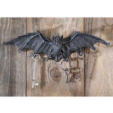 Vampire Bat Key Holder Wall Sculpture in Gray Stone