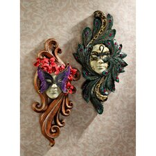 2 Piece Masquerade at Carnivale Countess Mask Wall Décor Set