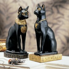 Egyptian Cat Goddess Bastet Figurine in Matte Black