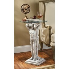 Hermitage Atlantes Glass - Topped Pedestal End Table