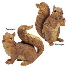 2 Piece Woodland Squirrel Scamper & Chomper Statue Set
