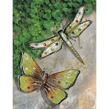 Dragonfly and Butterfly 2 Piece Wall Plaque Set