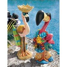 Pink Flamingo 2 Piece Garden Statue Set