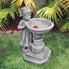 Georgina's Garden Gaze Child at Birdbath Statue
