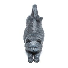 Playful Cat Stretching Statue
