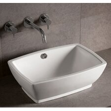 """Isabella 7"""" x 21.63"""" Rectangular Vessel Sink with Overflow and Center Drain in White"""
