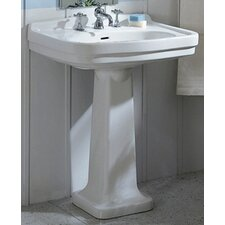 China Large Pedestal Bathroom Sink with Blacksplash