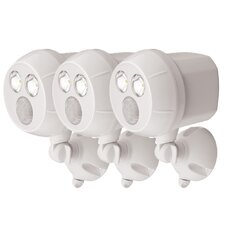Weatherproof Wireless Battery Powered LED Ultra Bright 300 Lumen Spotlight with Motion Sensor (Set of 3)