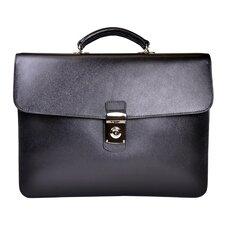Saffiano Genuine Leather Single Gusset Briefcase