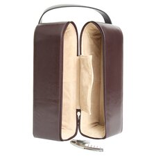 Royce Leather Suede Lined Double Wine Carrying Case in Genuine Leather