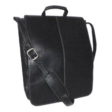 "Genuine Leather Vaquetta 17"" Vertical Laptop Messenger Bag"