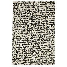 Black On White Manuscrit Area Rug