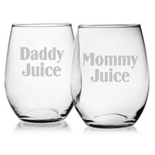 Mommy Juice and Daddy Juice Stemless Wine Glass (Set of 2)